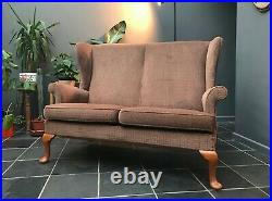VINTAGE PARKER KNOLL 1970s wing back 2 seater sofa