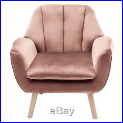 Velour Velvet Wing-Back Stylish Living Room Armchairs Pink Sofa with Wooden Legs