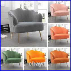Velvet Armchair Oyster Scallop Tub Chair Lotus Seat Cocktail Winged Lounge Sofa