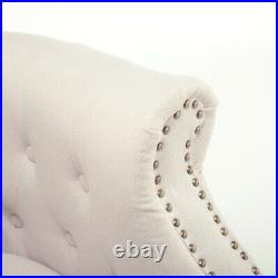Velvet Button Stud Curved Wing Back Armchair Tub Sofa Cushion Lounge Chair Beige