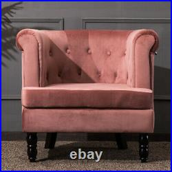 Velvet Button Tufted Scroll Arm Chesterfield Sofa Armchair Accent Tub Wing Chair