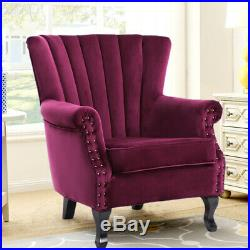 Velvet Chesterfield Chair Queen Anne Wing Back Armchair Fireside Lounge Sofa HOT