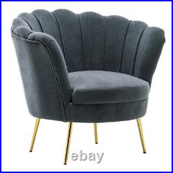 Velvet Cocktail Wing Back Sofa Lotus Seat Scallop Petal Back Armchair Tub Chair