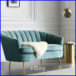 Velvet Fabric 2 Seater Sofa Armchair Tub Sofa Wing Chair Couch Settee withGold Leg
