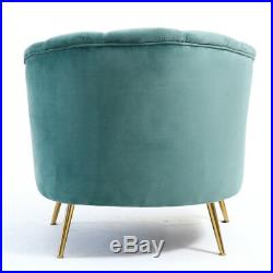 Velvet Fabric Seat Armchair Sofa Wing Scallop Back Tub Chair with Metal Gold Leg