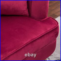 Velvet Fabric Tub Chair Armchair Scalloped Wing Back Accent Chair Lounge Sofa UK