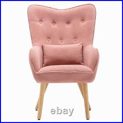 Velvet Fabric Wing Back Armchair Button Retro Lounge Chair Sofa Footstool Suite