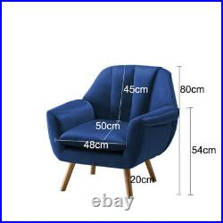 Velvet Fabric Wing Back Occasional Lounge Chair Tub Armchair Fireside Seat Sofa