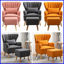 Velvet Fabric Wing Back Sofa Armchair Living Bedroom Lounge Chair with Footstool