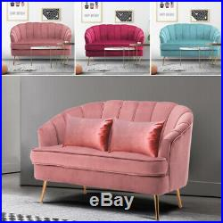Velvet Fabric Wing Tuffed Back Sofa Loveseat Chair Accent Armrest Couch Cuddle