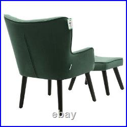 Velvet Green Wing Back Sofa Armchair Lounge Chair Upholstered Seat with Footstool