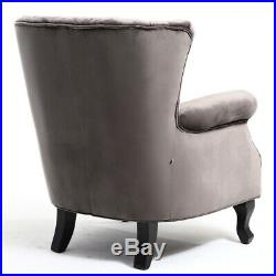 Velvet Grey Cocktail Wing Back Chair Scalloped with Nailhead Armchair Sofa Seat