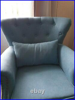 Velvet Linen Occasional Armchair Queen Anne Chair Lounge Oyster Wing Back Sofa