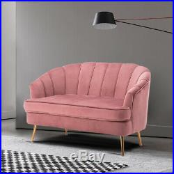 Velvet Love Seat Sofa Chesterfield Wing Chair Settee Couch Living Room Deep Seat