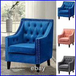Velvet Occasional Accent Chair Padded Seat Lounge Armchair Button Wing Back Sofa
