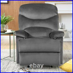 Velvet/PU Leather Bonded Recliner Lounge Chair Winged Armchair Reclining Sofa UK