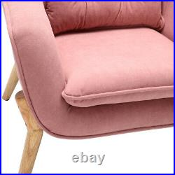 Velvet Pink Armchair Scalloped Wing Back Sofa Tub Chair Lounge Living Room Seat