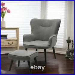 Velvet Smile Wing Back Armchair with Footstool Sofa Seat Upholstered Chair Suite