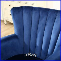 Velvet Tufted Wing Back Armchair Chesterfield Tub Sofa Occasional Lounge Chair