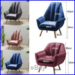 Velvet Wing Back Accent Chair Armchair Tub Sofa Cushioned Occasional Lounge Seat