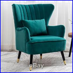 Velvet Wing Back Chair Scallop Armchair Accent Fireside Lounge Occasional Sofa