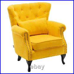 Victorian Retro Chesterfield Armchair Wing Back Chair Button Tufted Sofa Bedroom