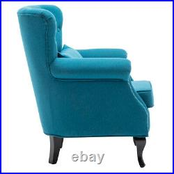 Vintage Blue Chesterfield Armchair Wing Back Button Chair Accent Rivet Tub Sofa
