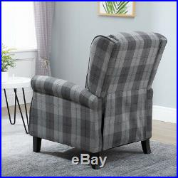 Vintage Check Recliner Lounge Chair Armchair Sofa Wing Back Fabric Fireside Grey