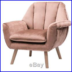 Vintage Fabric Dusty Pink Velvet Sofa Wing Back Armchair Lounge Accent Tub Chair