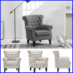 Vintage Fabric Tub Armchair Accent Chair Wing High Back Single Seat Sofa Bedroom