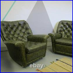 Vintage Green Chesterfield sofa chair wing back seat set Armchair Suite 1970s