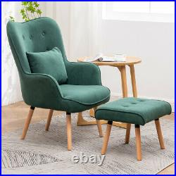Vintage Green Wing Back Button Armchair and Footstool Bedroom Sofa Lounge Chair