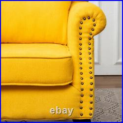 Vintage Linen Tub Armchair Accent Chair Wing High Back Single Seats Sofa Bedroom