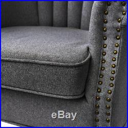 Vintage Occasional Upholster Sofa Armchair with Stud Wing Back Lounge Side Chair