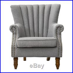 Vintage Occasional Wing Back Fabric Armchair Fireside Accent Chair Sofa Bedroom