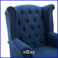 Vintage Recliner Occasional Nailhead Wing Chair Armchair Living Sofas Bedroom