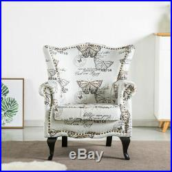 Vintage Retro Armchair Fabric Sofa Chair Wing Back Accent Queen Anne Comfy Seat