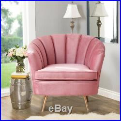 Vintage Shell Wing Back Armchair Oyster Tub Chair Blush Pink Cuddle Sofa Velvet