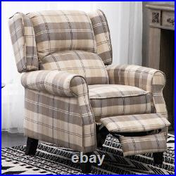 Vintage Tartan Recliner Beige Fabric Armchair Lounge Sofa Winged Back Chair Home