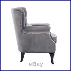 Vintage Velvet Accent Chair Button Wing Back Occasional Armchair Retro Sofa Seat