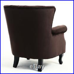 Vintage Velvet Wing Back Occasional Lounge Accent Chair Tub Sofa Armchair Coffee
