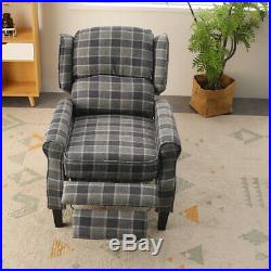 Vintage Wing Back Check Lounge Grey Fabric Armchair Sofa Recliner Chair Seat