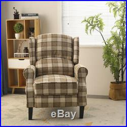 Vintage Wing Back Fireside Check Lounge Fabric Armchair Sofa Recliner Chair