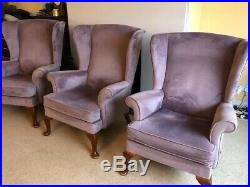 Vintage Wing Back Parker Knoll Two-seater Sofa and Three Chairs. Retro