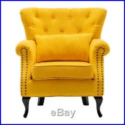 Vintage Wing Occasional Lounge Accent Chair Tub Business Armchair Sofa Yellow UK