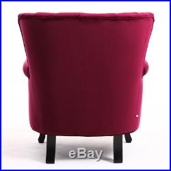 Vintage Winged Back Armchair Sofa Chair Velour In Red Wine Fireside Seat Lounge