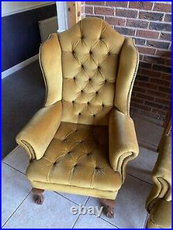Vintage chesterfield sofa and matching pair of wing back chairs