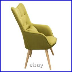 Wing Back Armchair Fireside Chair Linen Bedroom Sofa Occasional Seat & Footstool