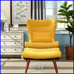 Wing Back Armchair Sofa Accent Lounge Chair Leisure Seat with Footstool Sofa Set