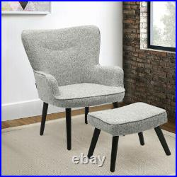 Wing Back Armchair Teddy Seat Smile Face Leisure Sofa Lounge Chair and Footstool